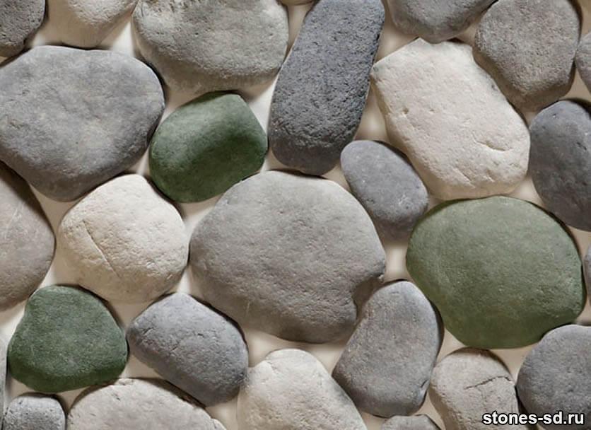 Декоративный камень Алтайский окатыш серый микс