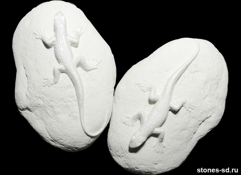 Декоративный камень Декор ящерицы белые