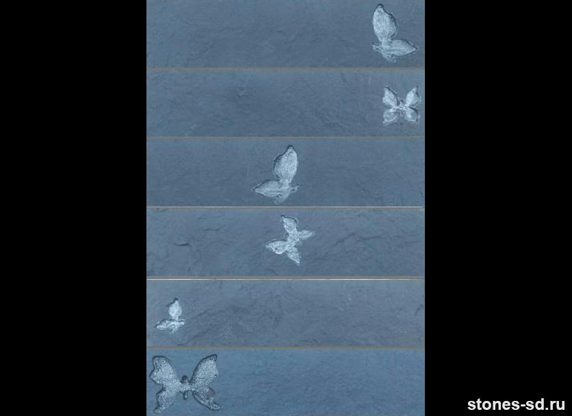 Декоративный кирпич Brick antracite butterfly silver 6pz
