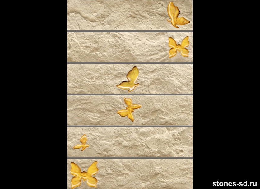 Декоративный кирпич Brick beige butterfly gold 6pz