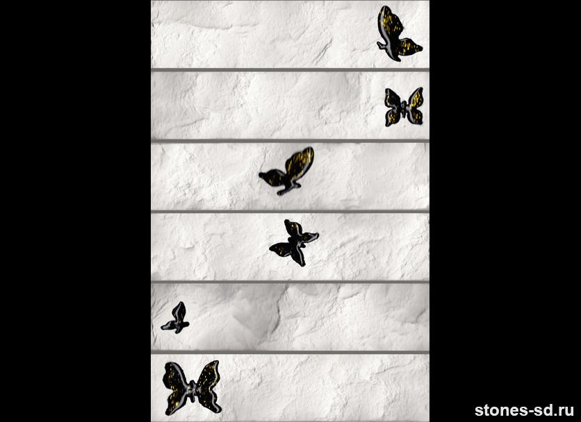 Декоративный кирпич Brick blanco butterfly black 6pz