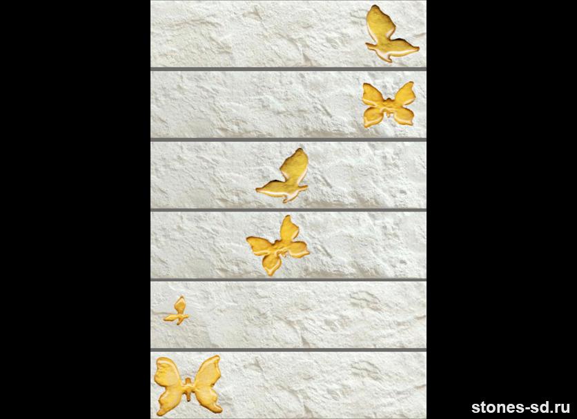 Декоративный кирпич Brick blanco butterfly gold 6pz