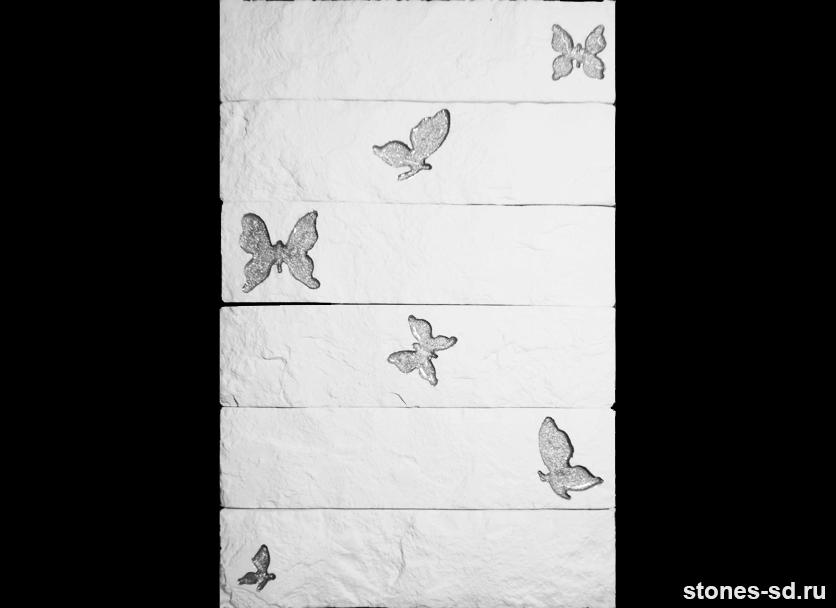 Декоративный кирпич Brick blanco butterfly silver 6pz