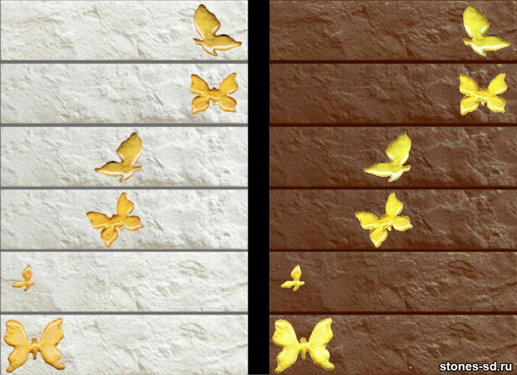 Декоративный кирпич Brick blanco butterfly shine gold
