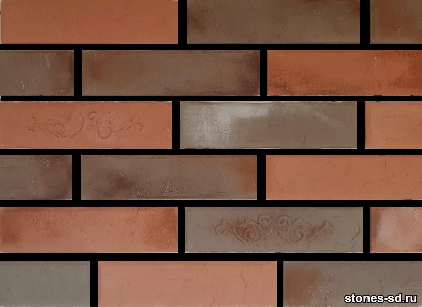 Декоративный кирпич Лофт красно-коричневый микс