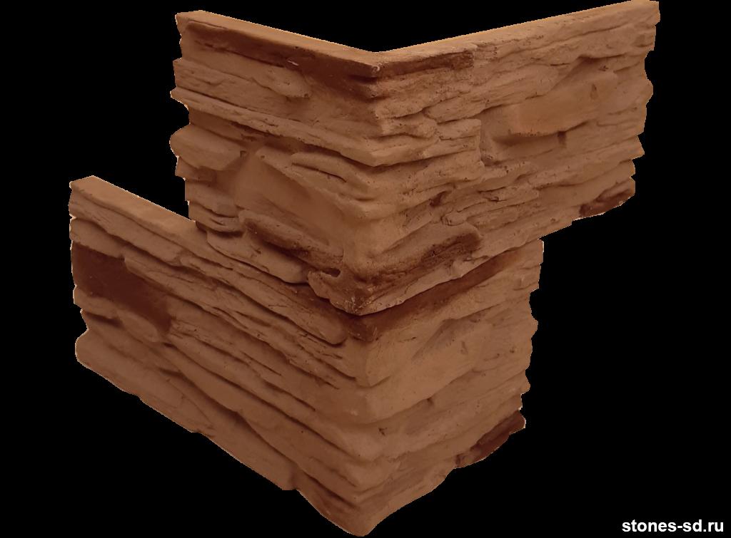 Декоративный камень Сланец угловые элементы темно-коричневый