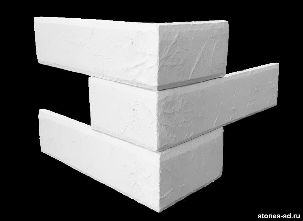 Декоративный кирпич Лофт белый угловые элементы
