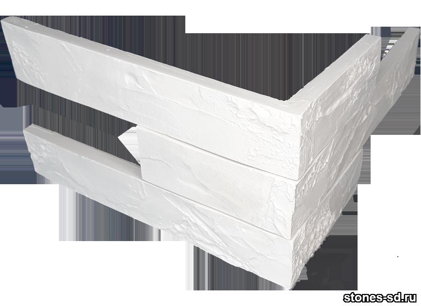 Декоративный кирпич Ригель белый угловые элементы
