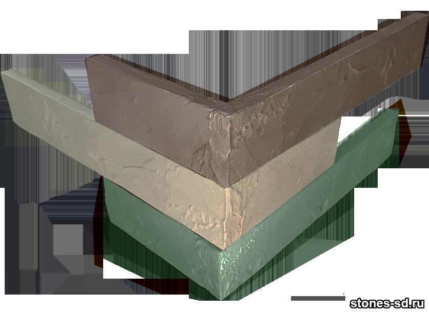 Декоративный кирпич Ригель бежево-зеленый угловые элементы