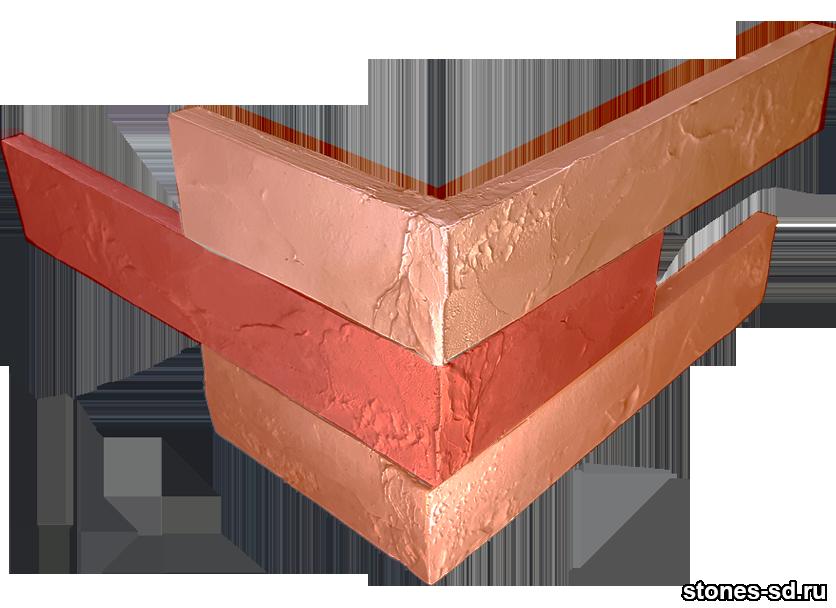 Декоративный кирпич Ригель красный угловые элементы