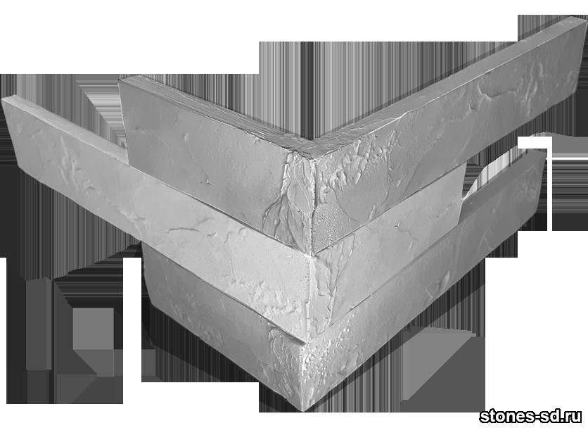 Декоративный кирпич Ригель серый угловые элементы