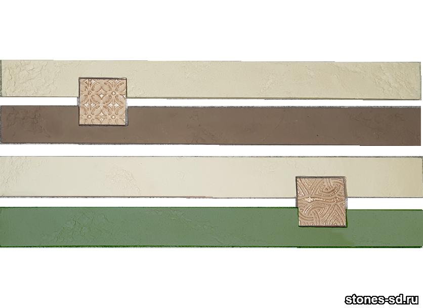Декоративный кирпич Ригель бежево-зеленый decor B inserto beige 5X5