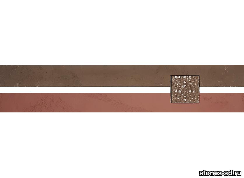 Декоративный кирпич Ригель бургунди decor B inserto chocolate 5X5