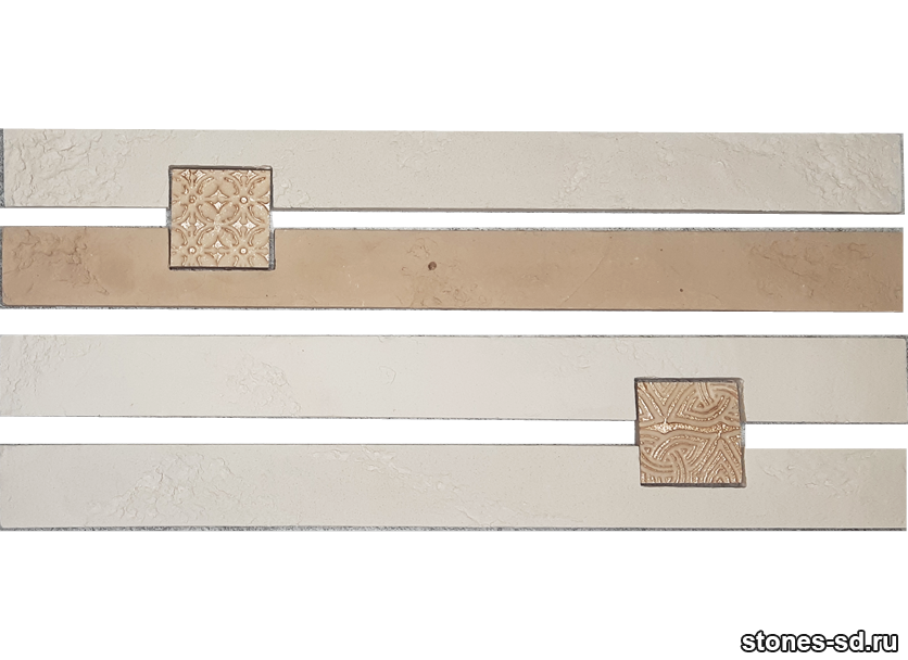 Декоративный кирпич Ригель светло-бежевый decor B inserto beige 5X5