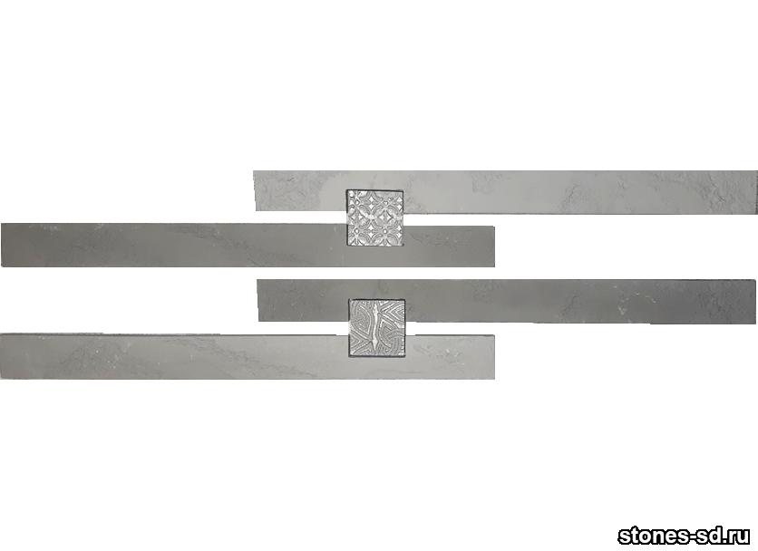 Декоративный кирпич Ригель серый decor A inserto antracite 5X5