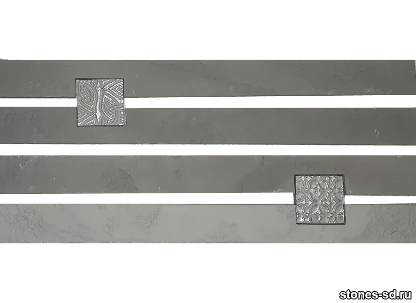Декоративный кирпич Ригель серый decor B inserto antracite 5X5