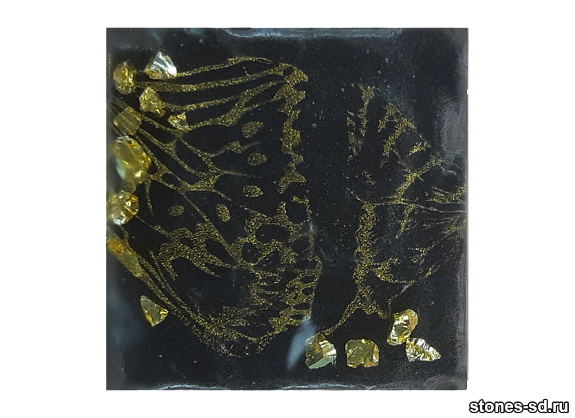 Декоративный кирпич 3D-Décor A inserto-3 Бабочки золото