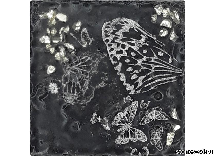 Декоративный кирпич 3D-Décor A inserto-5 Бабочки серебро